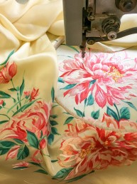 Hand machine embroidery on hand painted silk florals.