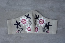 Passionflower on linen face mask