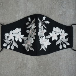 Blossom Embroidery on Black Cotton Face Mask
