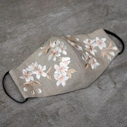 Blossom embroidery on natural linen face mask