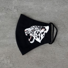 Embroidered White Tiger face mask on Black Cotton by Rachel Rousham.